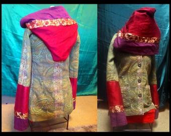 Festival Tapestry Upcycle Hippie coat jacket hoodie