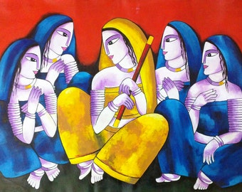 Modern Indian art, Indian art, Contemporary art, Woman painting, Traditional painting, Figurative art, Woman art, Modern Wall Art, Hindu Art