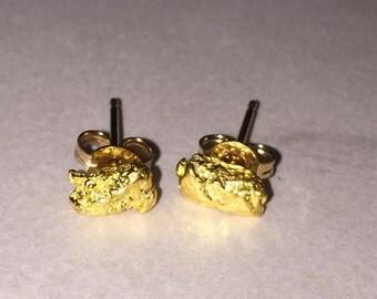 18K Yellow Gold Nugget Stud Earrings