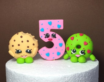 Shopkins Birthday Cake Topper. Fondant Shopkins cake decoration. Edible Shopkins Number