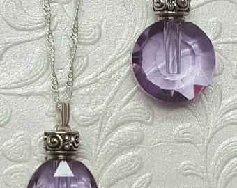 Lavender Fillable Crystal | Ash Jewelry | Cremation Jewelry | Keepsake Necklace | Memorial Jewelry |Crystal Urn Pendant | Fillable Jewelry