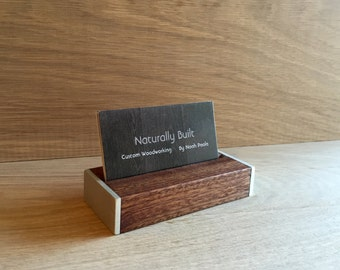 Wood Business Card Holder With Aluminum Sides