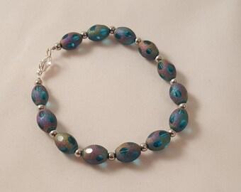 On Sale - Blue Frosted Oval Glass Bead Bracelet - Women's Blue Bracelet - Oval Bead Bracelet - Women's Bracelet - Frosted Glass Bracelet