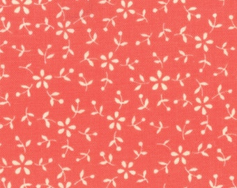 Sassy by Sandy Gervais Salmon w/Cream Flowers (17648 13) Quilting Fabric by the 1/2 Yard