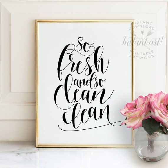Bathroom Decor Etsy Of Bathroom Wall Decor Printable Art So Fresh And So Clean
