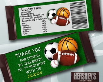 Thank You Sport Candy Bar Wrapper for Birthday Party, Printable Tag for Sport Chocolate, Sports Theme Sticker, JPG  DIGITAL 093