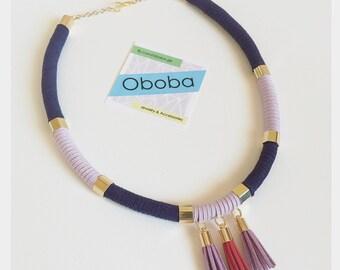 Violet Suede Tassel Necklace