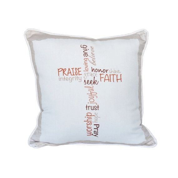 Words of Faith Pillow 18x18 Contemporary Cross Pattern