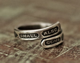 word ring, hand stamped ring, silver ring, message ring, vintage ring, quote ring, solomon ring, menly ring
