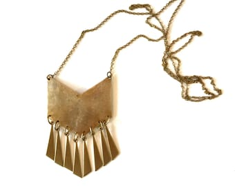 Hand-cut gold chevron necklace, fringe necklace, statement necklace