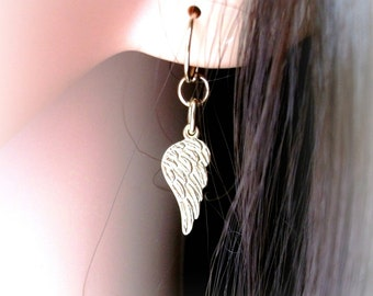 Gold Angel Wing Earrings On Gold Filled Ear Wires - Gift For Her
