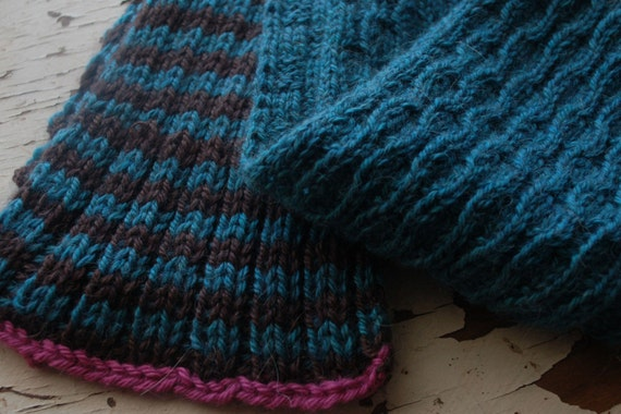 Knitting In The Round Changing Colors : Hand knit scarf and hat easy to