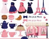 70% OFF SALE Paris clipart, Paris Girls Clipart, Fashion clip art, Eiffel Tower Clipart, Digital Clipart - CA239