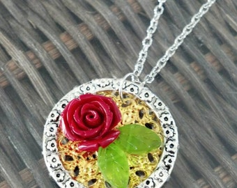 Red Rose Handmade Pendant Necklace