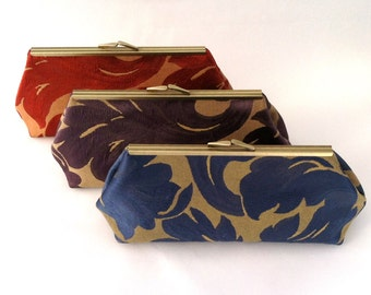 Navy and Gold Bridesmaid Clutch ~ Purple and Gold Bridesmaid Clutch ~  Orange and Gold Bridesmaid Clutch ~ Sets of 5 plus FREE SHIPPING