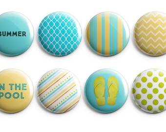 "8 Summer Fun 2 - Set of 8 - 1.25"" Pinback Buttons, Magnets, or Flair, summer flair, Flip Flops, Vacation flair, project life"