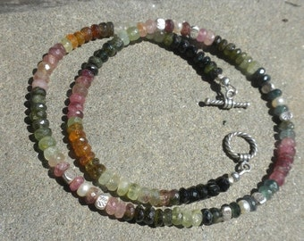 Valentines Sale Tourmaline and Silver Necklace