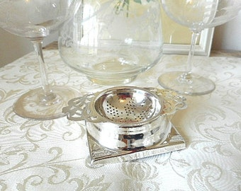 Vintage Silverplate Tea Strainer with Stand