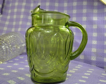 Anchor Hockiing Green Colonial Tulip Glass Vintage Water Iced Tea Lemonade 64 Oz Glass Pitcher with ice Lip
