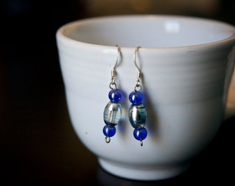 Purple and silver/clear bead earrings