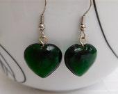 Green Heart Drop Earrings Green Earrings Heart Earrings Dangle Earrings