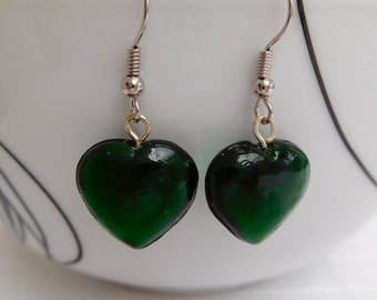 Green Heart Drop Earrings, Green Earrings, Heart Earrings, Dangle Earrings, Silver Earrings, Green Jewellery