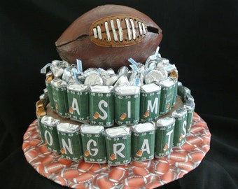 Candy cake, football gifts, Super Bowl party, chicago bears, miniature candy, unique birthday gift, farewell gift, candy centerpiece