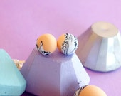 Peach, black & white marble polymer clay round stud earrings with silver plated findings