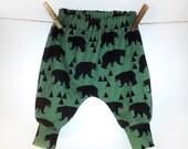 Harem pants, bears, Andrea Lauren, cool baby clothes, hipster baby clothes, organic baby clothes, baby clothing, baby boy, baby gift