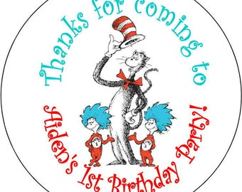 12 Thing one Dr Seuss Cat in the hat Birthday Party Stickers 2.5 inch Round Personalized kids kids Loot Bag Stickers