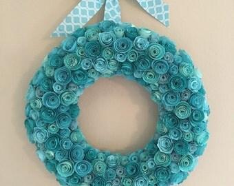 Aqua paper flowers/turquoise paper flowers/aqua and turquoise paper flower decor/Agua and turquoise paper wreath/paper flowers