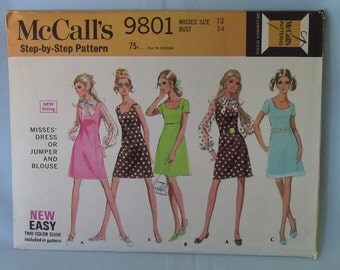 Vintage McCall's Dress, Jumper, Blouse Pattern 9801, Size 12