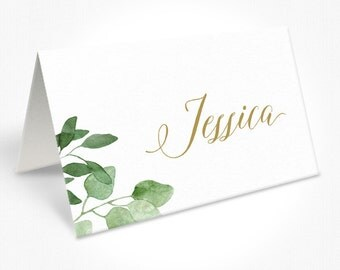 Gold and White Wedding Place Cards, Watercolour Foliage Leaves, Modern Script Font, Free Colour Changes, DEPOSIT | Bohemian Luxe