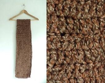 chunky scarf, handmade scarf, crochet yarn scarf, brown scarf, fall scarf, winter scarf, long scarf, miminalist