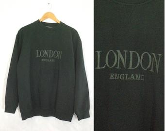 35%offJuly21-24 mens london sweatshirt size large, 80s sweatshirt, dark green, embroidered, UK England, crew neck, mens jumper, cotton