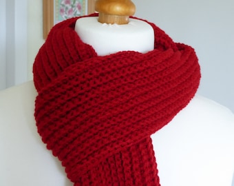 Beautiful lipstick red hand crocheted aran weight fringed scarf in a wool and acrylic mix yarn