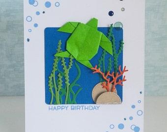 Handmade Origami Turtle Birthday Card
