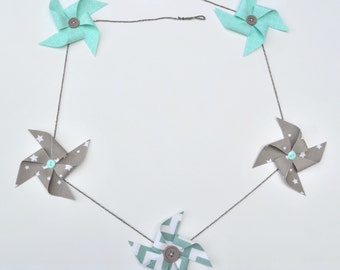 Garland of windmills in cotton green, grey and white