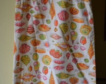 Vintage Medium Girl's Handmade Sundress White with Seashell Design in orange and pint