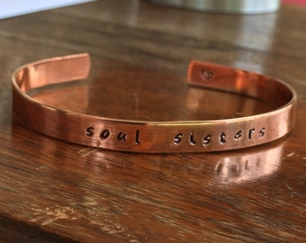 "Soul Sisters |  Distressed Cuff Bracelet Personalized Jewelry Hand Stamped 1/4"" Copper Smooth, Organic Texture"
