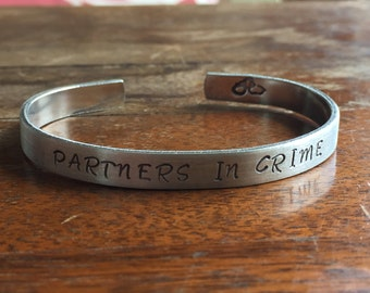 "Partners In Crime  | Distressed Cuff Bracelet Personalized Jewelry Hand Stamped 1/2"" Brushed Texture"