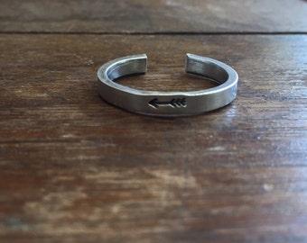 "1/8"" Single Wrap Arrow Ring - Smooth Texture Artisan Handmade Custom Jewelry Sizes 3-14 Copper Brass Silver Aluminum"