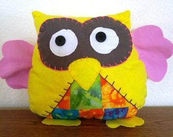 Quilted Owl Plushie: Yellow, Grey & Pink