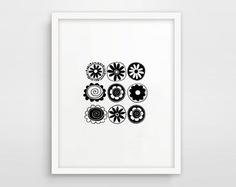 Black And White Art / Flowers Print / Scandinavian Print /  Nursery Art / Monochrome Print / Instant Download / Printable