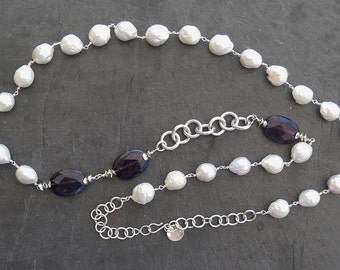 Kasumi, amethyst and silver Baroque Pearl Necklace Sterling 950