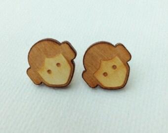 Star Wars-Princess Leia laser engraved wood earrings