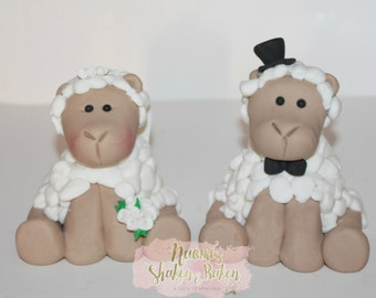 1x Edible 3D Bride & Groom Sheep Fondant Cake Toppers 9-11cm