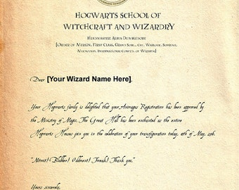 Customized Hogwarts Harry Potter Letter of Acceptance from Harry Potter, Digital Download, Instant Download