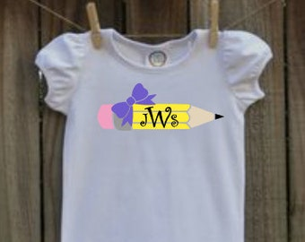 Girls personalized pencil monogram back to school shirt vinyl
