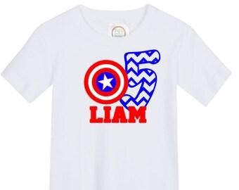 boys' personalized captain america birthday shirt vinyl custom
